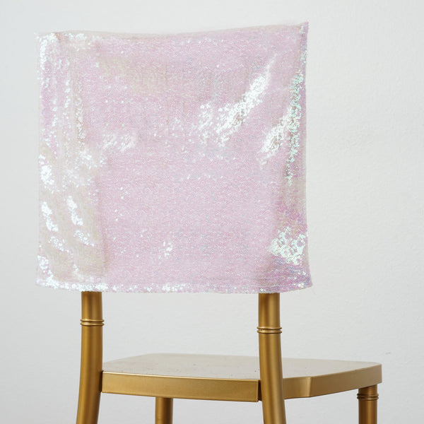 "16"" x 14"" Iridescent Premium Sequin Chiavari Chair Back Cover"