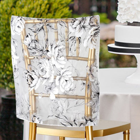 White Sheer Organza With ROSE Design Chivari Chair Caps For Wedding Party Event Decoration