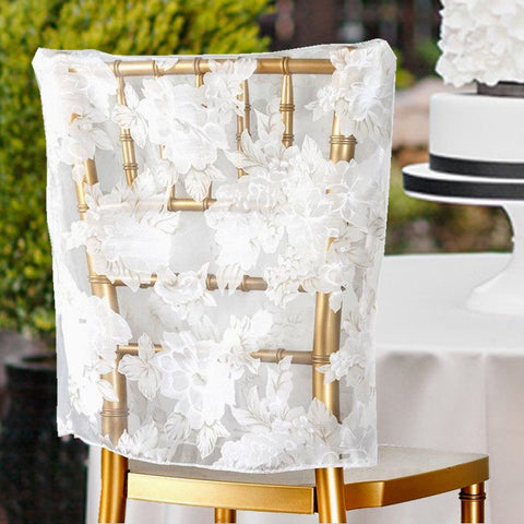 White Sheer Organza With Peony Design Chivari Chair Caps For Wedding Party Event Decoration