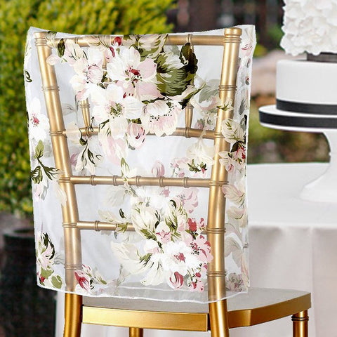 WHITE Sheer Organza With BLUSH Roses Design Chivari Chair Caps For Wedding Party Event Decoration