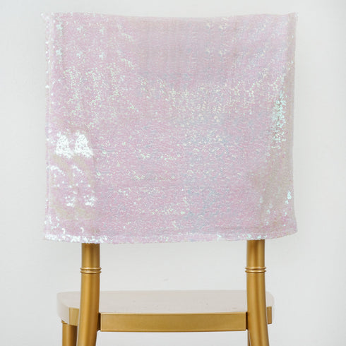 "16"" x 14"" White Iridescent Premium Sequin Chiavari Chair Back Cover"