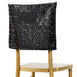 "16"" Black Premium Sequin Chiavari Chair Cap Cover"