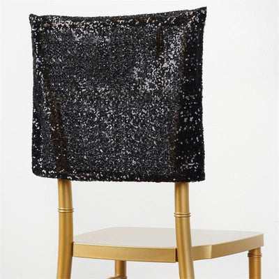 "16"" x 14"" Black Premium Sequin Chiavari Chair Back Cover"