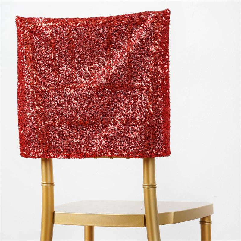 Premium Sequin Chair Cap Red EFavorMart