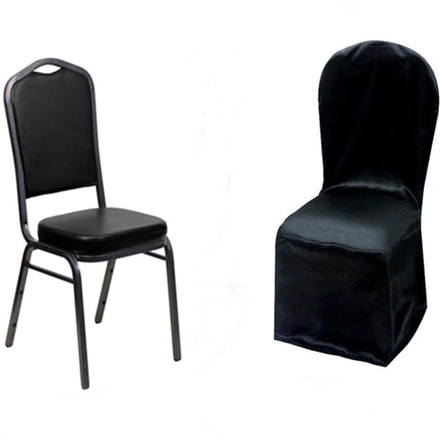 Black Crepe Crown Back Satin Banquet Chair Covers