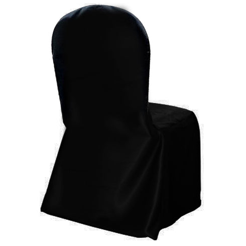 Crepe Crown Back Banquet Chair Covers - Black