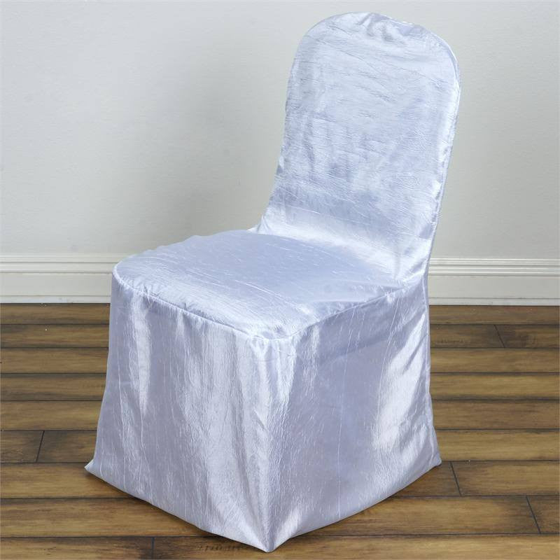 Mademoiselle Style Crinkle Banquet Chair Cover White