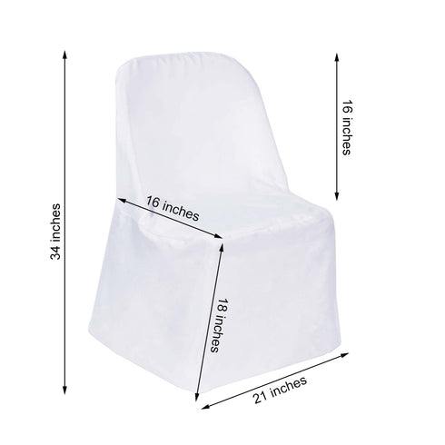 White Polyester Folding Flat Chair Covers