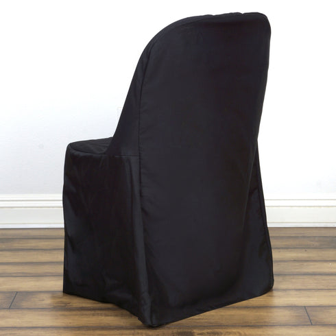 Polyester Folding Flat Chair Covers Black Efavormart
