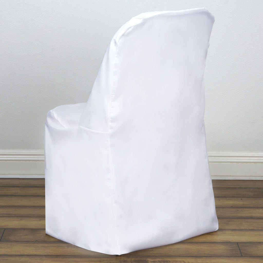 Polyester Folding Flat Chair Covers White Efavormart