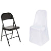 White Polyester Folding Flat Chair Covers[overlay]Fits over Folding Style Chairs
