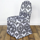 Black Flocking Banquet Chair Covers