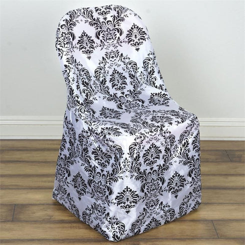 Black/White Velvet Flocking Tafetta Chair Covers