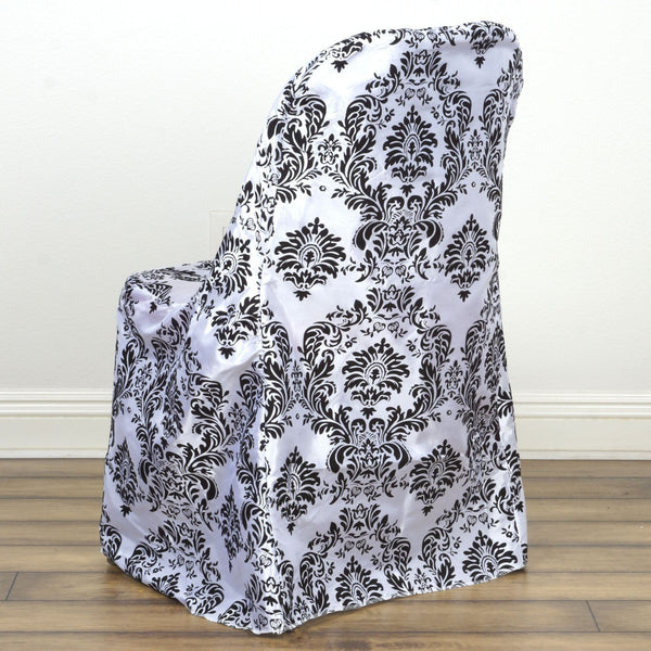 Velvet Flocking Taffeta Chair Covers Black White