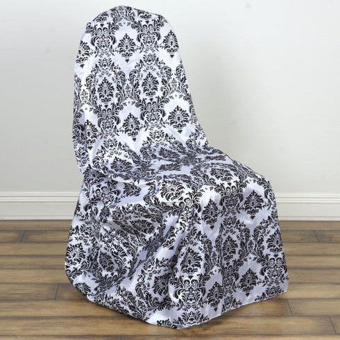Black/White Velvet Flocking Tafetta Universal Chair Covers