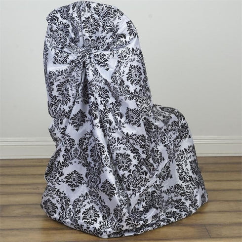 Black Flocking Universal Polyester Chair Covers