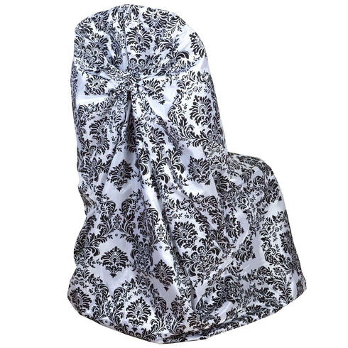 Black/White Velvet Damask Flocking Taffeta Universal Chair Covers