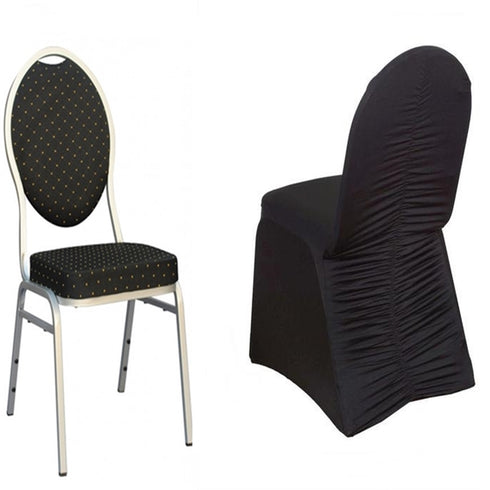 Black Premium Milan Ruched Spandex Banquet Chair Covers