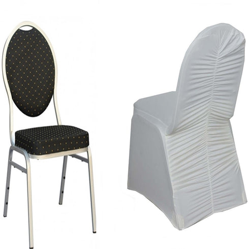 Ivory Premium Milan Spandex Banquet Chair Covers