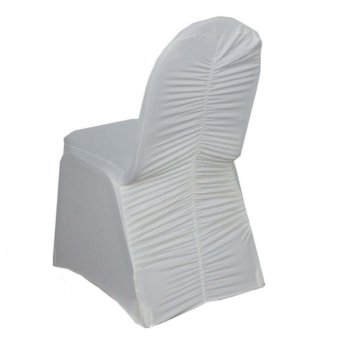 Ivory Premium Milan Ruched Spandex Banquet Chair Covers