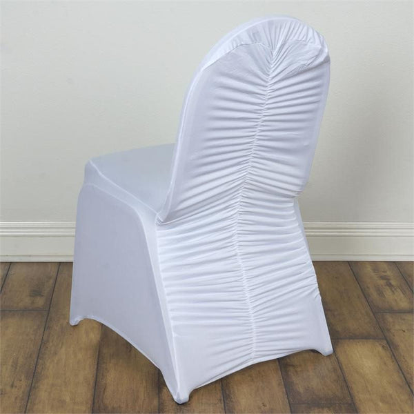 White Premium Milan Ruched Spandex Banquet Chair Covers