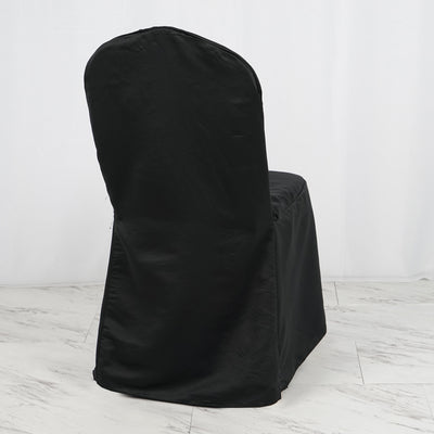 Black Crown Back lamour satin chair cover | Large Banquet Chair Cover