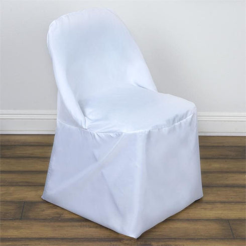White Folding Chair Cover-Round