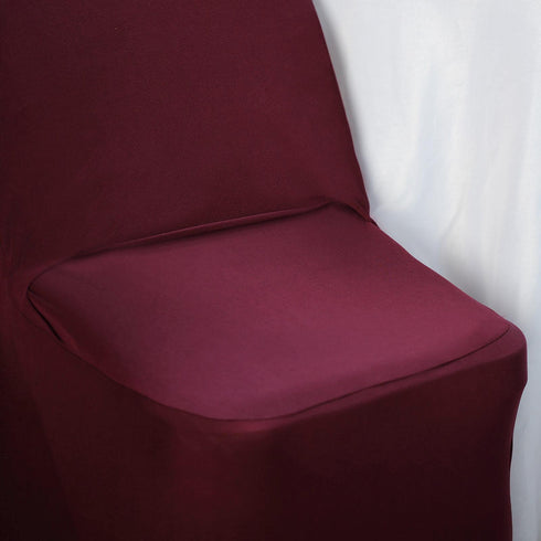 Burgundy Spandex Stretch Folding Chair Cover With Metallic Glittering Back