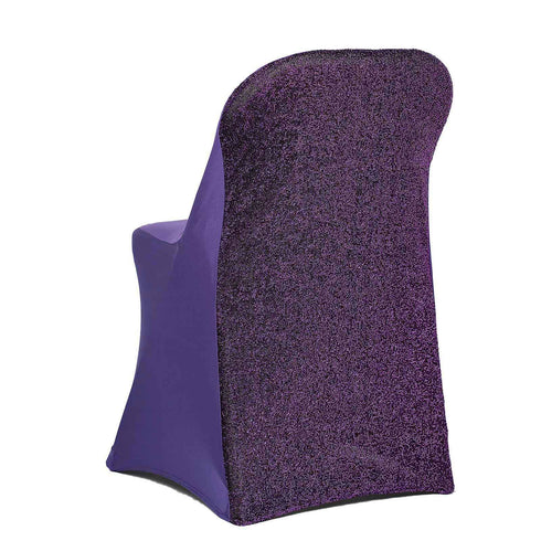 Purple Spandex Stretch Folding Chair Cover With Metallic Glittering Back