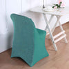 Turquoise Stretch Spandex Folding Chair Cover with Metallic Glittering Back