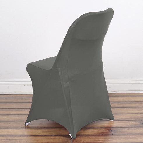 Charcoal Gray Spandex Stretch Folding Chair Cover
