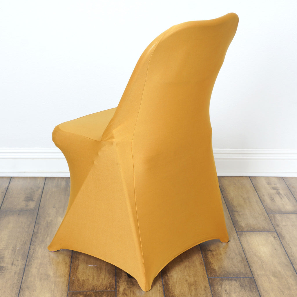 Folding chair covers wholesale under 1 -  Sleek Spandex Folding Chair Cover Gold
