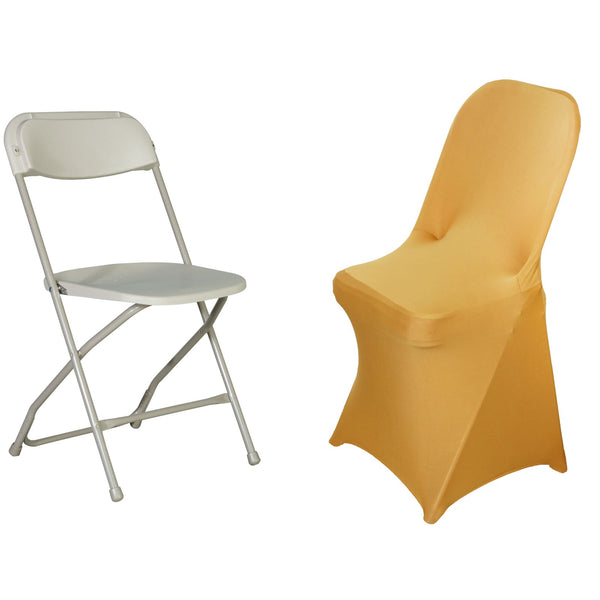 Gold Spandex Stretch Folding Chair Cover Efavormart