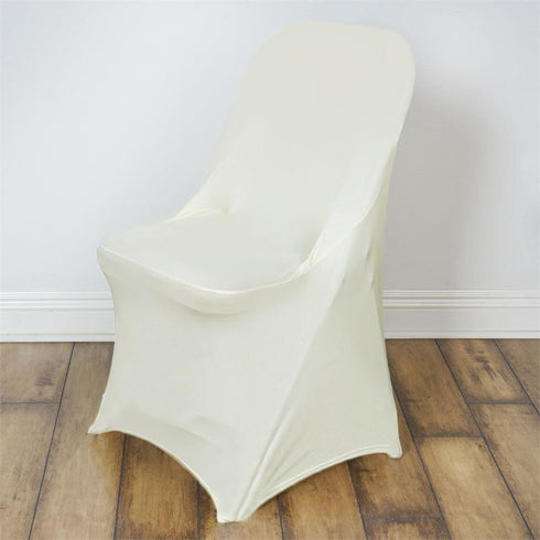 Ivory Spandex Stretch Folding Chair Cover