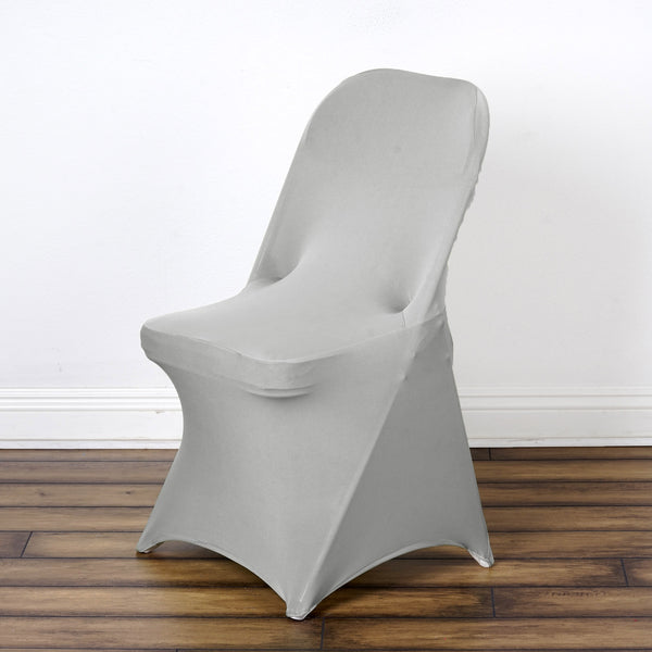 Spandex Stretch Folding Chair Cover Silver Efavormart