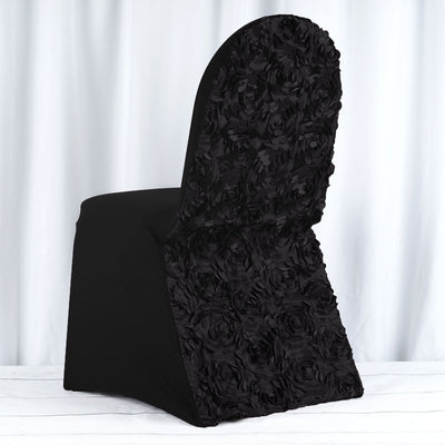 Black Satin Rosette Stretch Banquet Spandex Chair Cover