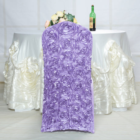 39d29d88f Lavender Satin Rosette Stretch Banquet Spandex Chair Cover