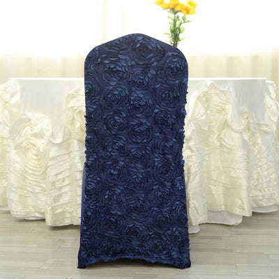 Attrayant ... Satin Rosette Navy Blue Stretch Banquet Spandex Chair Cover ...