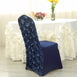 Navy Blue Satin Rosette Stretch Banquet Spandex Chair Cover
