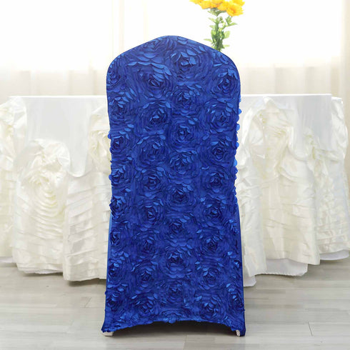 Royal Blue Satin Rosette Stretch Banquet Spandex Chair Cover