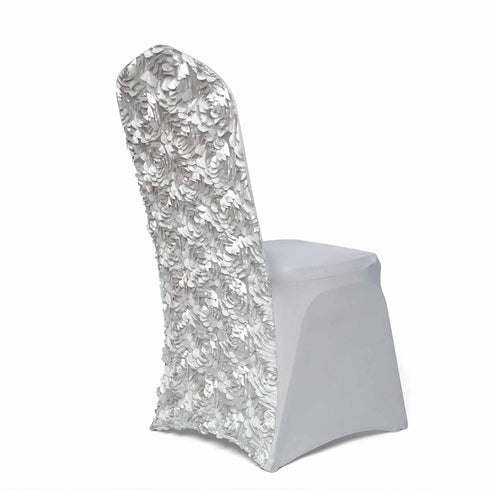 Silver Satin Rosette Stretch Banquet Spandex Chair Cover