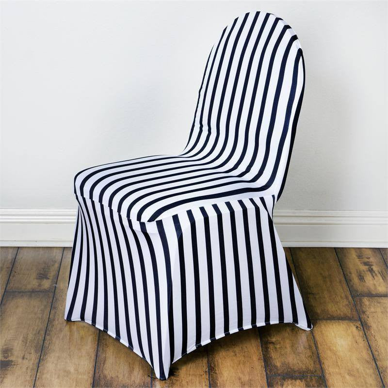 Striped Spandex Chair Cover   Black / White ...