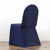 Navy Blue Spandex Stretch Banquet Chair Cover With Metallic Glittering Back