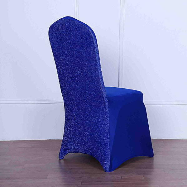 Royal Blue Spandex Stretch Banquet Chair Cover With Metallic Glittering Back