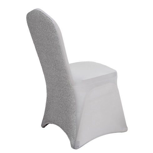 Silver Spandex Stretch Banquet Chair Cover With Metallic Glittering Back