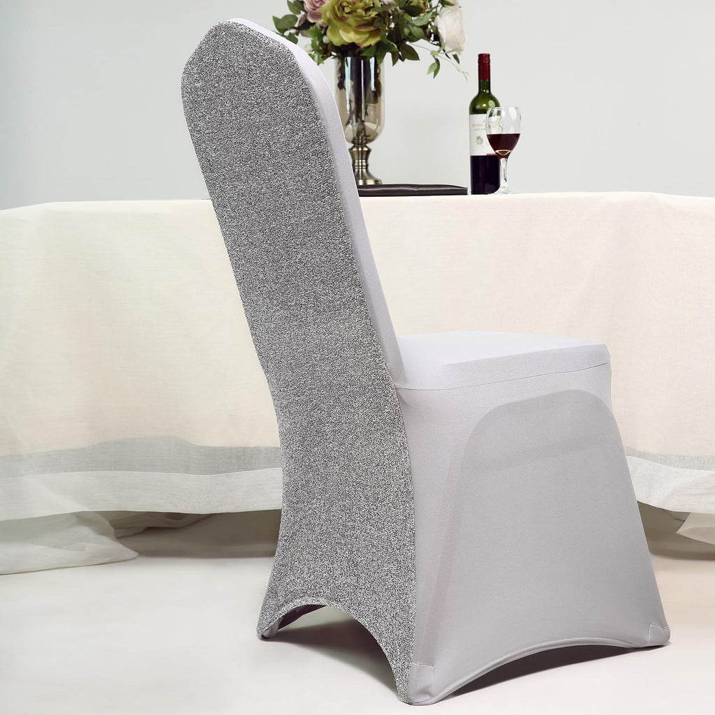 Silver Spandex Stretch Banquet Chair Cover With Metallic