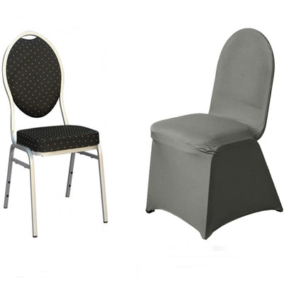 Charcoal Grey Spandex Stretch Banquet Chair Cover