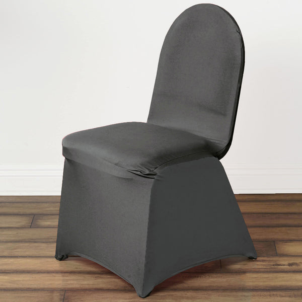160GSM Charcoal Gray Stretch Spandex Banquet Chair Cover With Foot Pockets