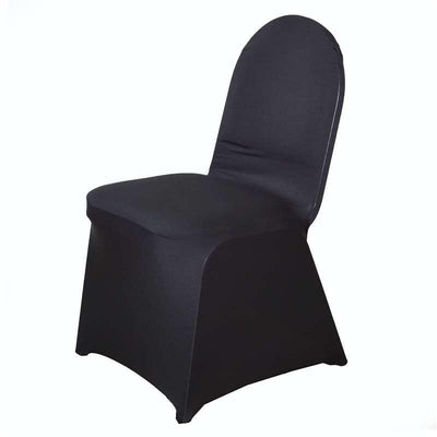 160GSM Black Stretch Spandex Banquet Chair Cover With Foot Pockets