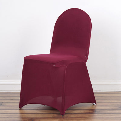 160GSM Burgundy Stretch Spandex Banquet Chair Cover With Foot Pockets